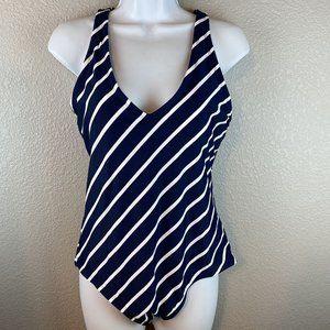 Kona Sol Swimsuit One Piece XL 16 18 Blue White